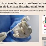 Un millón de dosis de vacunas de la china llegarán a fines de enero asegura presidente Sagasti